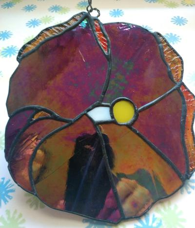 Purple Hibiscus Stained Glass