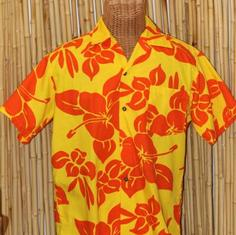 Vintage Yellow Hawaiian Shirt With Orange Hibiscus