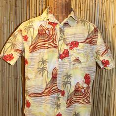 Vintage Hawaiian Shirt with Hibiscus and Volcano Surfer