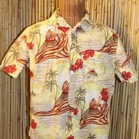 Vintage Hawaiian Shirt with Hibiscus and Volcano Surfer '0'