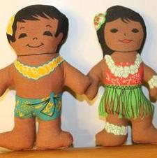 Hawaiian Vintage Boy and Girl Dolls