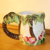 Vintage Hibiscus Mug with Palm Trees