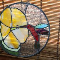 Hummingbird Yellow Hibiscus Stained Glass