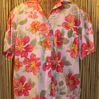 Womens Hawaiian Shirt Pink Hibiscus
