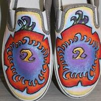 Hand Painted Hibiscus Canvas Slip ons size 7