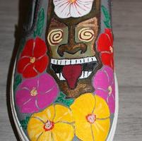 Handpainted Size 13 Tiki and Hibiscus Crocs Slip Ons