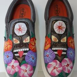 Handpainted size 12 Croc slip ons with tiki and tropical hibiscus '0'