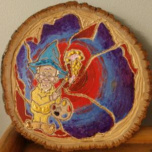 Gnome Wood Carved Painting with Hibiscus