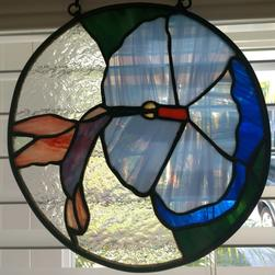 Stained Glass Hibiscus Blue Flower With Hummingbird '0'