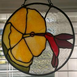 Stained Glass Hibiscus Yellow Flower With Hummingbird 9