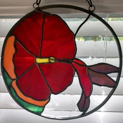 Stained Glass Hibiscus Red Flower With Hummingbird 9