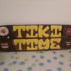 Tiki Time Carved Teak Wood Sign