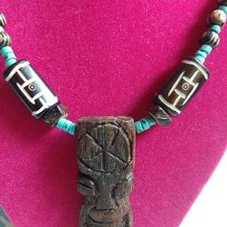 Tiki Necklace Turquoise Wood Beads