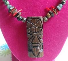 Tiki Necklace Red Coral
